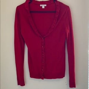 New york & company red cardigan